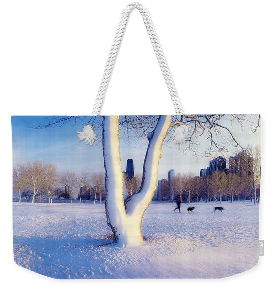 Snow Covered Lakefront Park In Winter Weekender Tote Bag