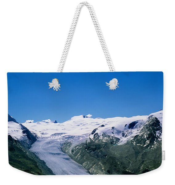 Snow Covered Mountain Range With A Weekender Tote Bag