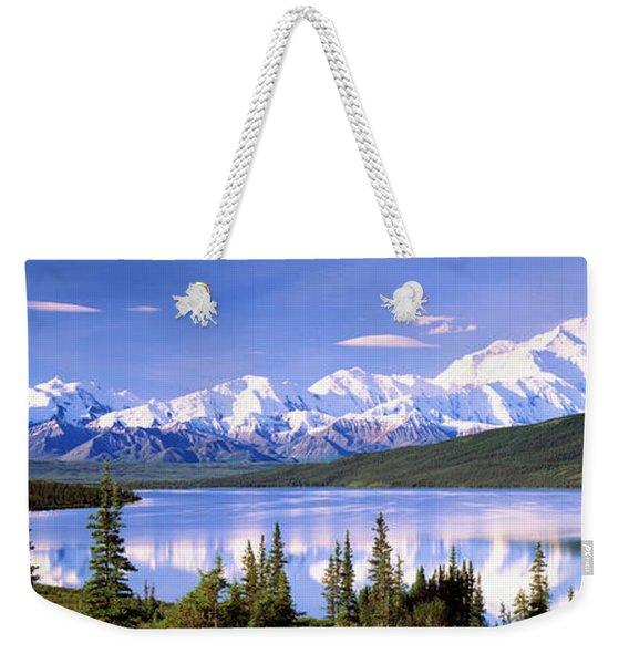 Snow Covered Mountains, Mountain Range Weekender Tote Bag