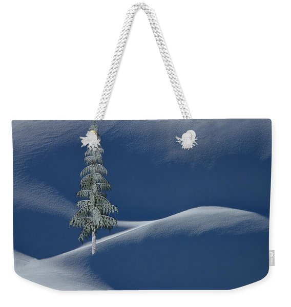 Snow Covered Tree And Mountains Color Weekender Tote Bag