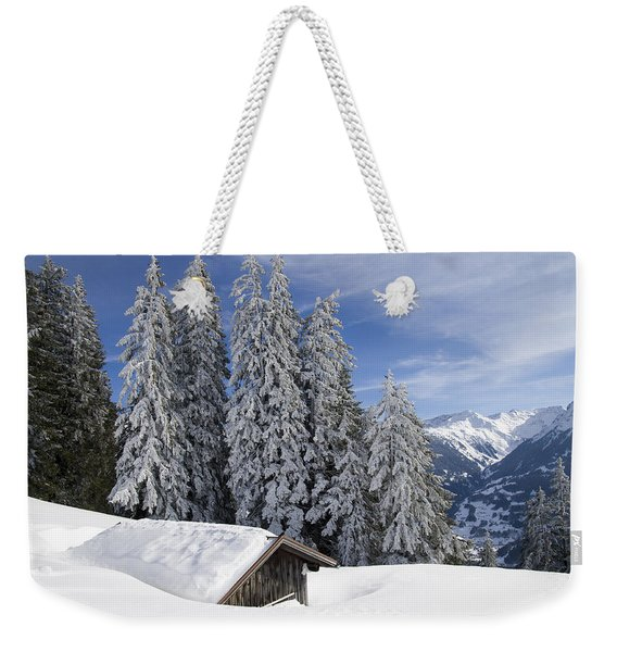 Snow Covered Trees And Mountains In Beautiful Winter Landscape Weekender Tote Bag