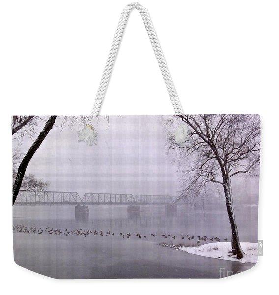 Snow From Lewis Island Bridge Weekender Tote Bag
