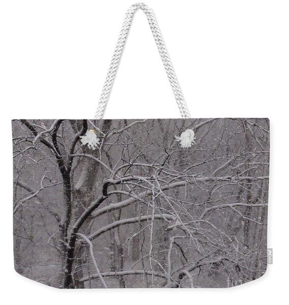 Snow In The Trees At Bulls Island Weekender Tote Bag
