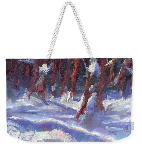 Weekender Tote Bag featuring the painting Snow Laden - Winter Snow Covered Trees by Talya Johnson