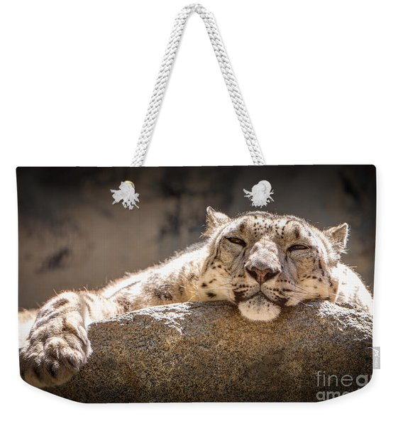 Weekender Tote Bag featuring the photograph Snow Leopard Relaxing by John Wadleigh