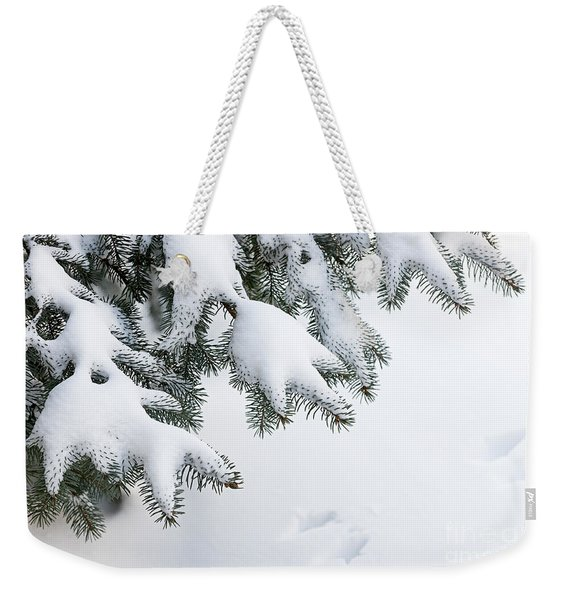 Snow On Winter Branches Weekender Tote Bag