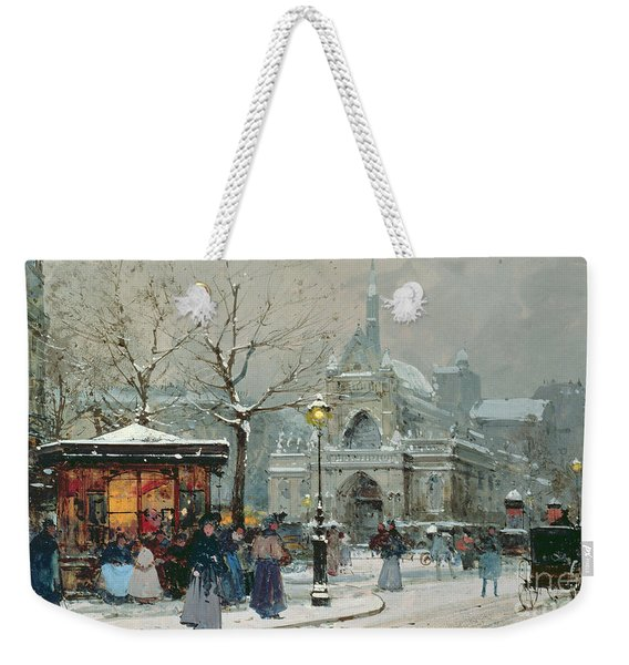 Snow Scene In Paris Weekender Tote Bag