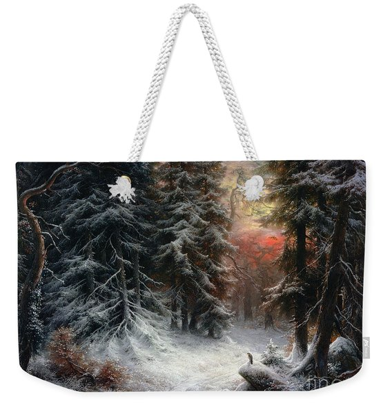 Snow Scene In The Black Forest Weekender Tote Bag