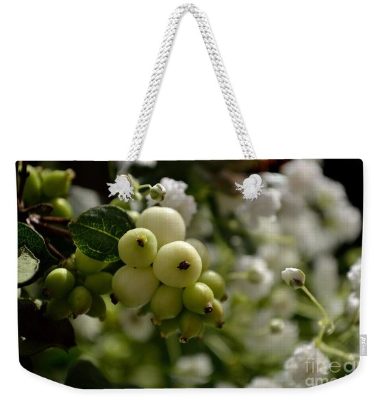 Weekender Tote Bag featuring the photograph Snowberries by Scott Lyons