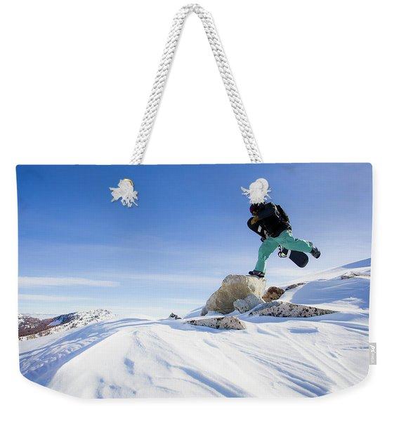 Snowboarder Jumping Weekender Tote Bag