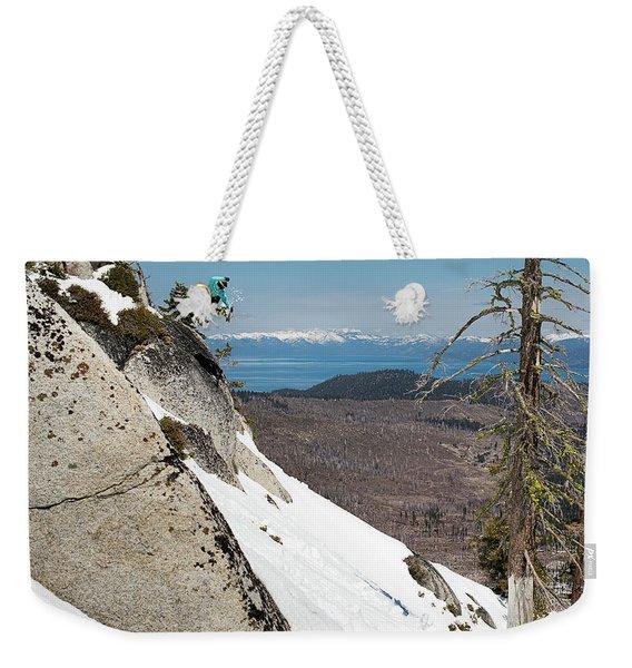 Snowboarder Jumping Off Rock Weekender Tote Bag