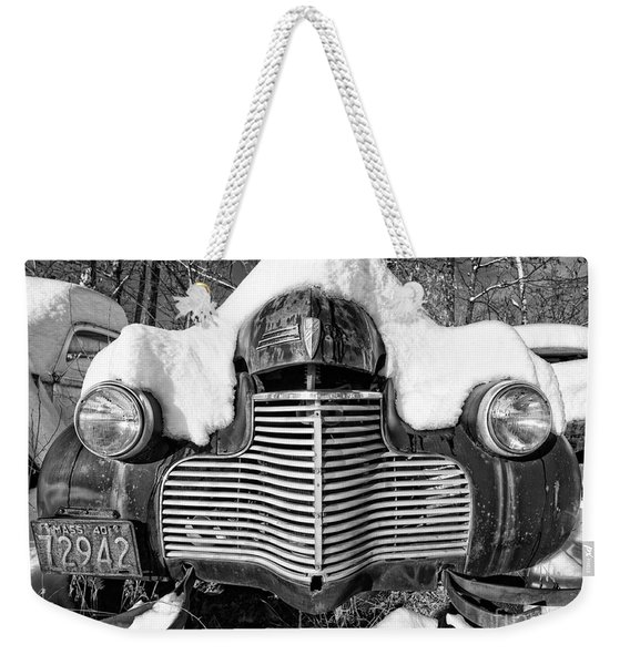 Snowed In A Thick Blanket Of Snow Covering A Vintage Chevy Weekender Tote Bag