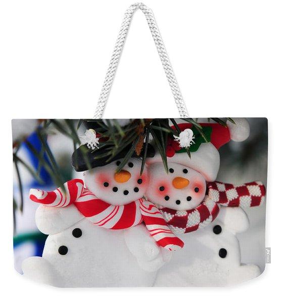 Snowmen Christmas Ornament Weekender Tote Bag