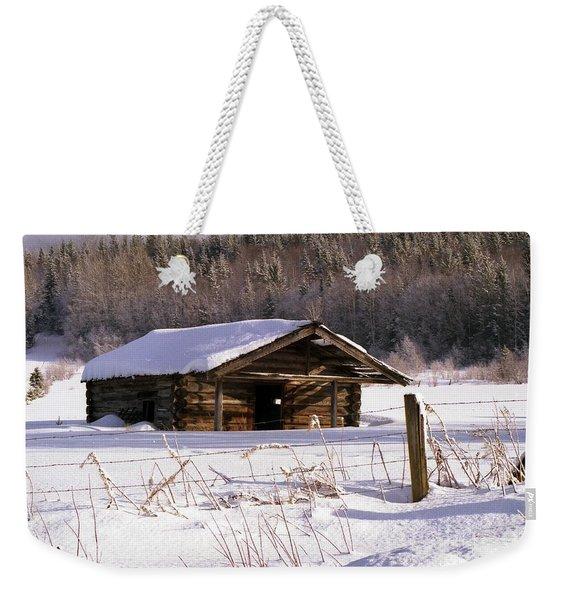 Snowy Cabin Weekender Tote Bag