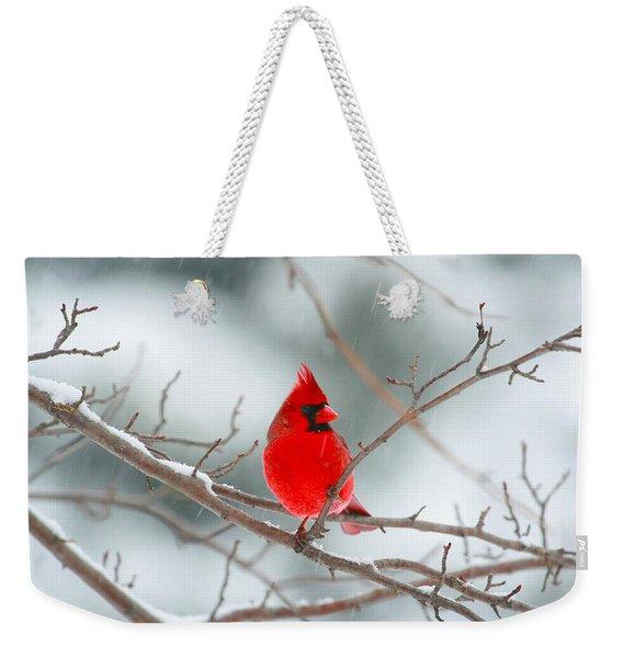 Snowy Cardinal Weekender Tote Bag
