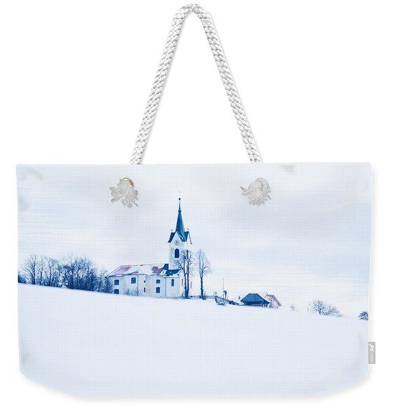 Snowy Church Weekender Tote Bag