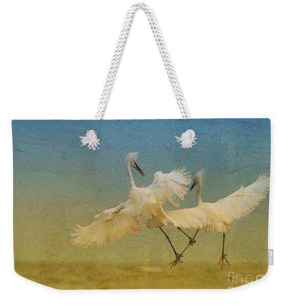 Snowy Egret Dance Weekender Tote Bag