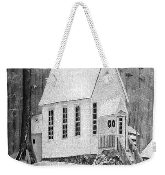 Snowy Gates Chapel -white Church - Portrait View Weekender Tote Bag
