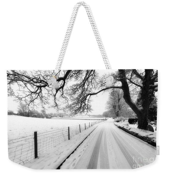 Snowy Lane Weekender Tote Bag