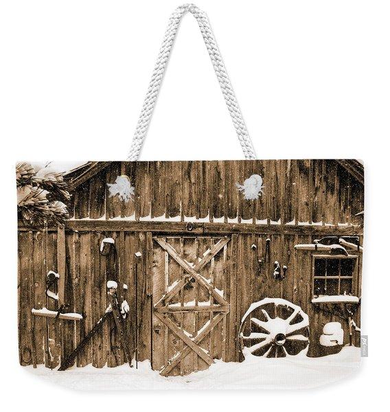 Snowy Old Barn Weekender Tote Bag