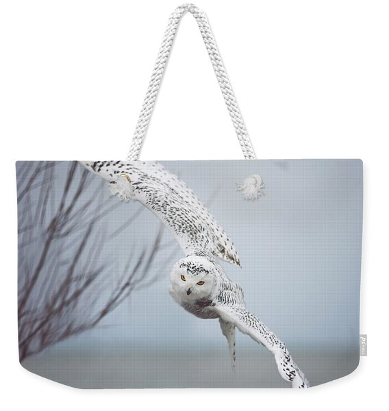 Snowy Owl In Flight Weekender Tote Bag