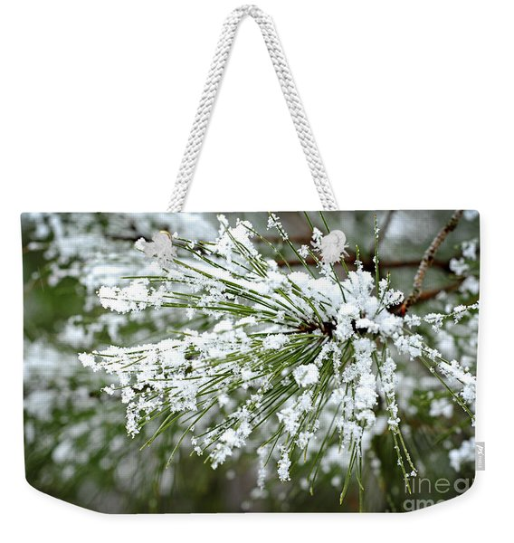 Snowy Pine Needles Weekender Tote Bag