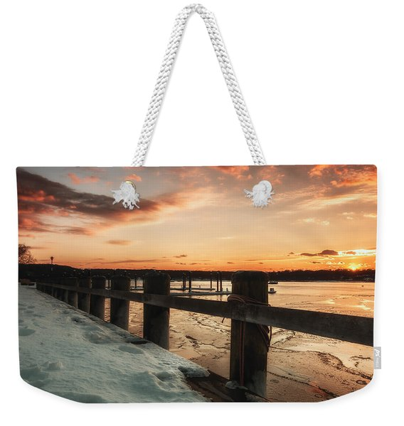 Snowy Sunset In Northport New York Weekender Tote Bag