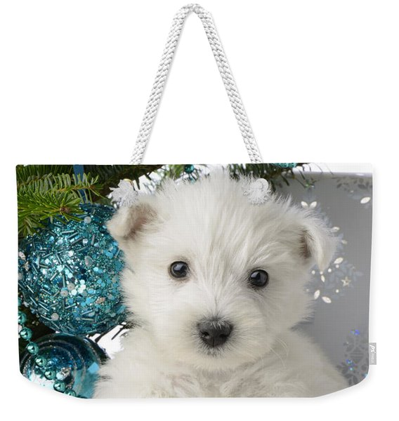 Snowy White Puppy Present Weekender Tote Bag