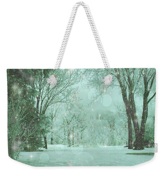 Snowy Winter Night Weekender Tote Bag