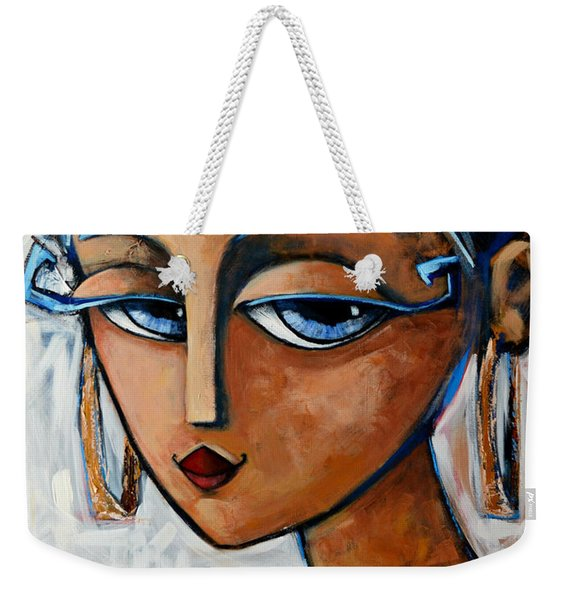 Weekender Tote Bag featuring the painting Sofia by Oscar Ortiz