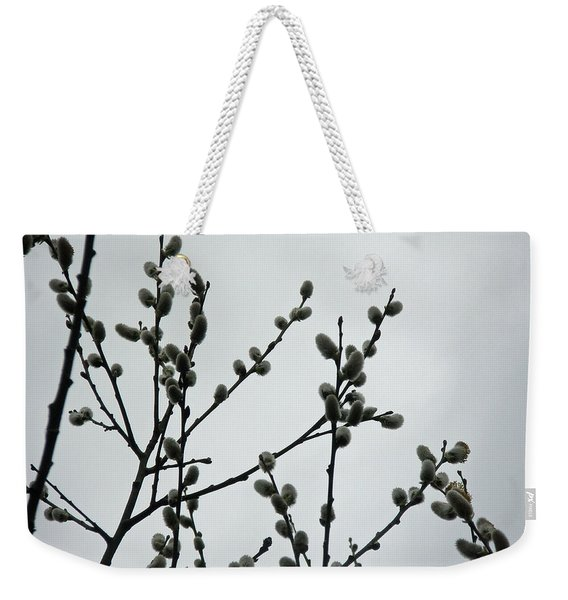 Soft Pussy Willows - Hard Gray Sky Weekender Tote Bag