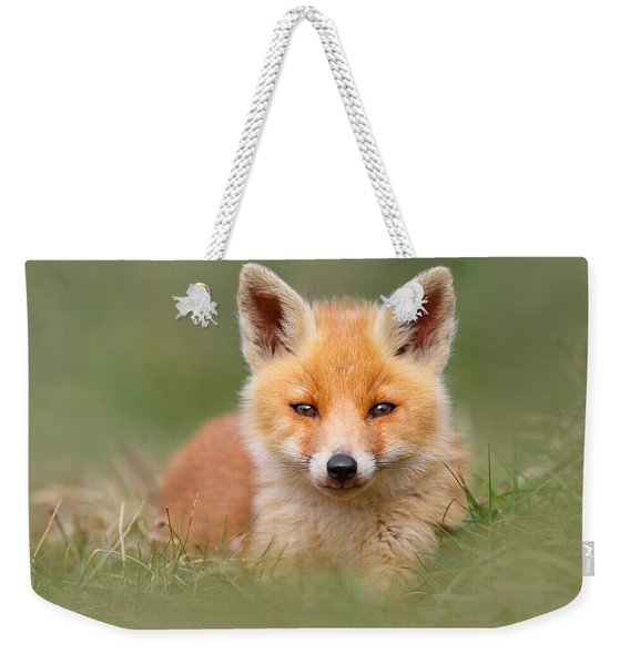 Softfox -young Fox Kit Lying In The Grass Weekender Tote Bag