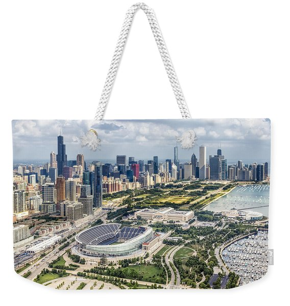 Soldier Field And Chicago Skyline Weekender Tote Bag
