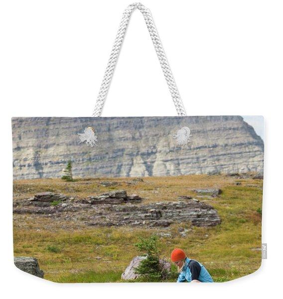 Solo Female Camper Filtering Water Weekender Tote Bag