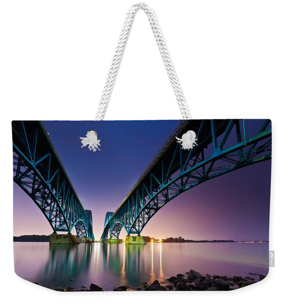 Weekender Tote Bag featuring the photograph South Grand Island Bridge by Mihai Andritoiu