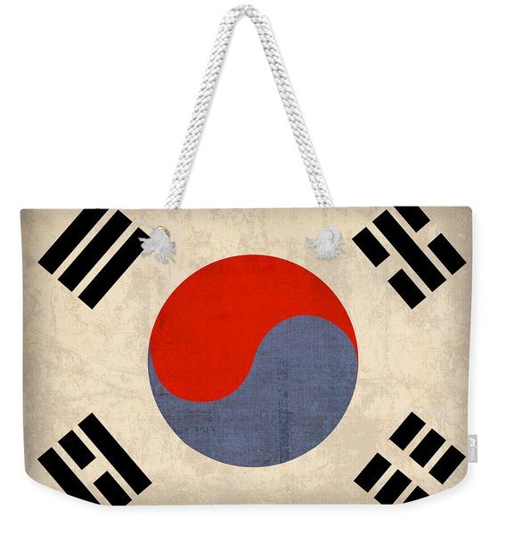 South Korea Flag Vintage Distressed Finish Weekender Tote Bag