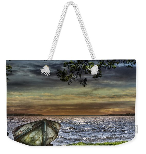 South Manistique Lake With Rowboat Weekender Tote Bag
