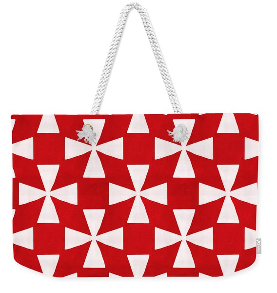 Spice Twirl- Red And White Pattern Weekender Tote Bag