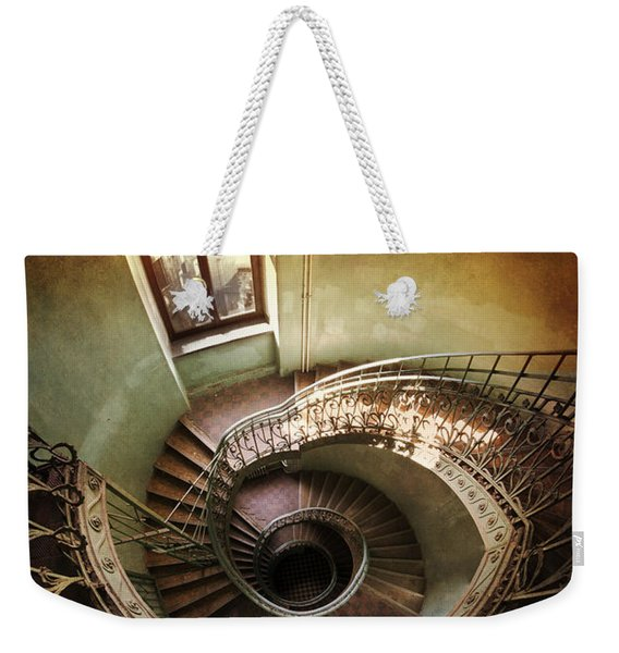 Weekender Tote Bag featuring the photograph Spiral Staircaise With A Window by Jaroslaw Blaminsky