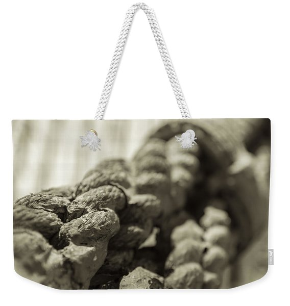 Spliced And Bound Black And White Sepia Weekender Tote Bag