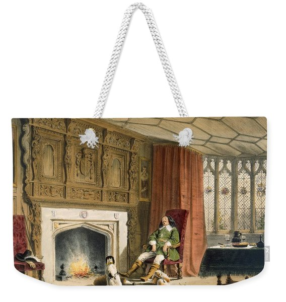 Squire With His Dogs By The Hearth Weekender Tote Bag