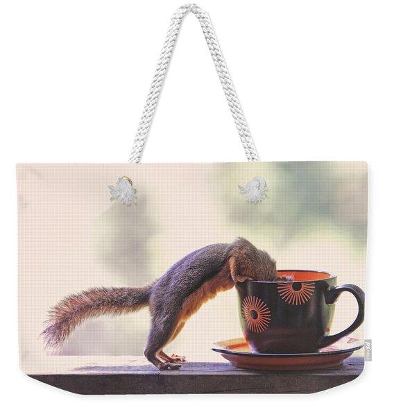 Squirrel And Coffee Weekender Tote Bag
