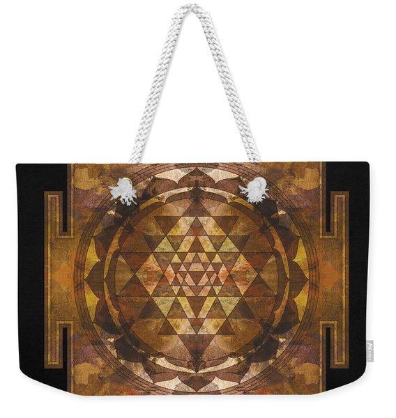 Sri Yantra Gold Weekender Tote Bag