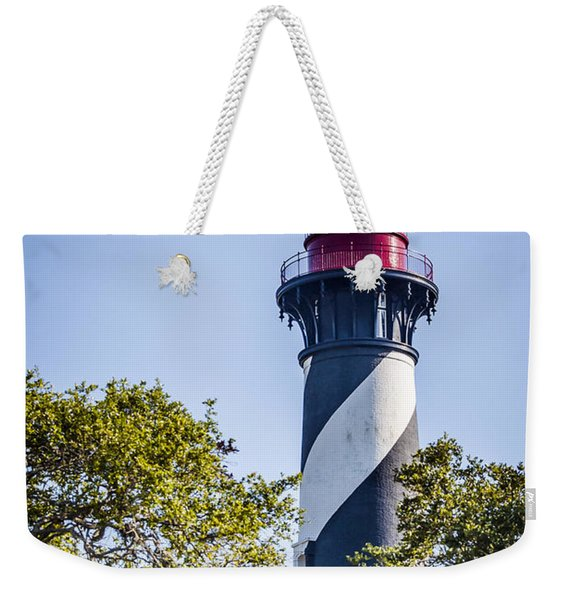 Weekender Tote Bag featuring the photograph St. Augustine Lighthouse by Carolyn Marshall