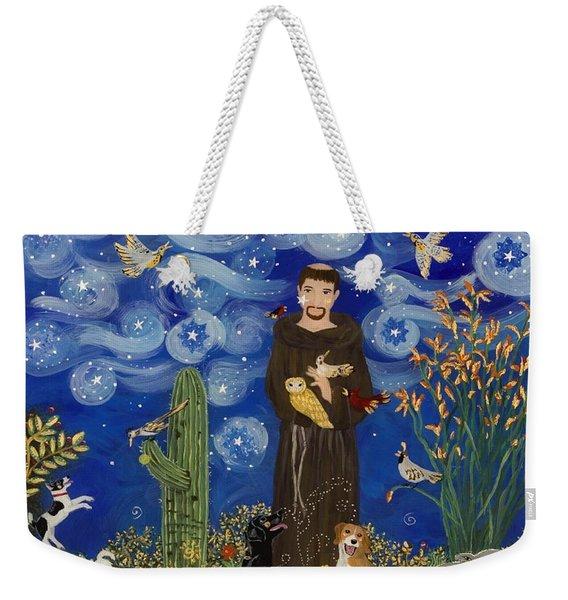 St. Francis Starry Night Weekender Tote Bag
