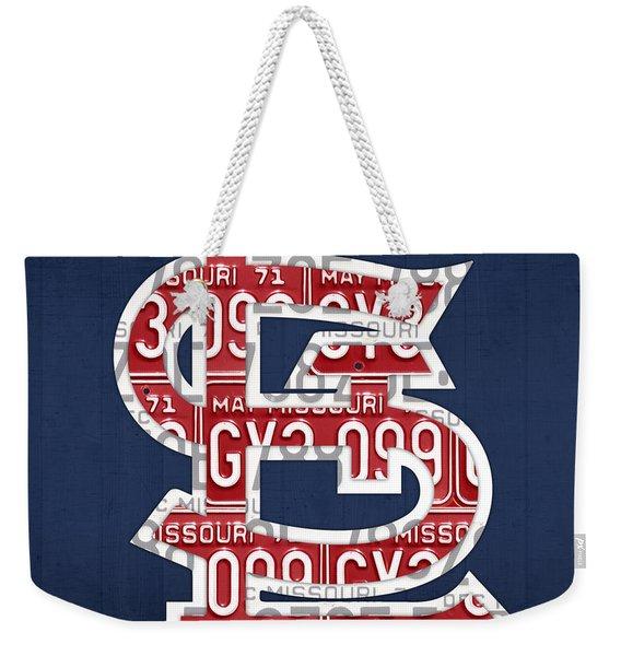 St. Louis Cardinals Baseball Vintage Logo License Plate Art Weekender Tote Bag