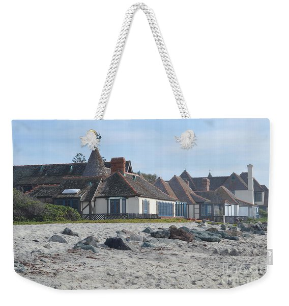 Weekender Tote Bag featuring the photograph St. Malo Beach View by Laurie Lundquist