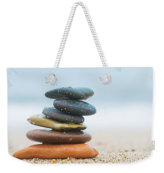 Stack Of Beach Stones On Sand Weekender Tote Bag