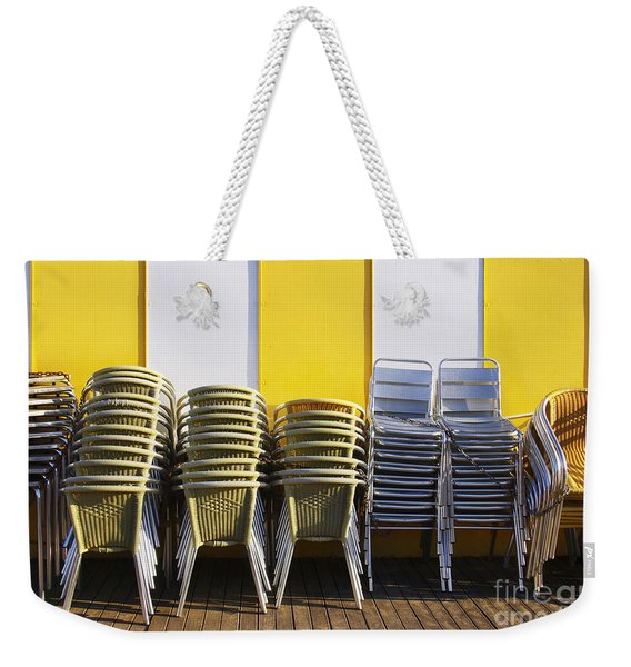 Stacks Of Chairs And Tables Weekender Tote Bag