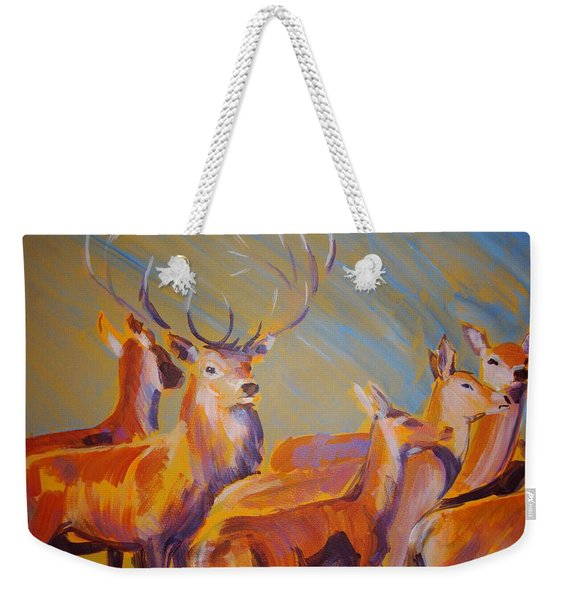 Stag And Deer Painting Weekender Tote Bag